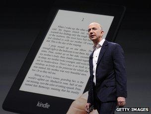 Jeff Bezos and Kindle Paperwhite e-reader