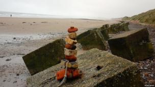 Bricks on the shore