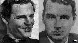 Cambridge Spies Donald Maclean, left, and Guy Burgess, right