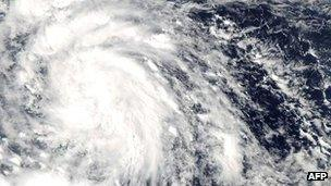 Nasa Aqua satellite image shows Tropical Storm Son-Tinh over the Philippines on 24 October 2012