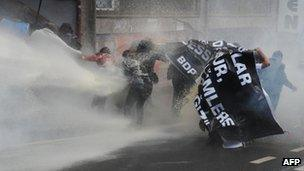 Protesters were driven back by water cannon
