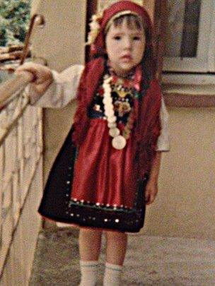 Theopi Skarlatos as a child in traditional costume