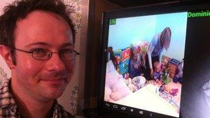 Rupert Plumridge with his baby monitor