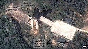 17 September 2012 satellite image showing a facility in Sohae, North Korea, where analysts believe rocket engines have been tested