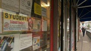 adverts in shop window