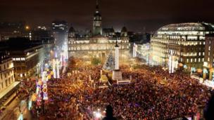 Christmas lights in George Square, Glasgow