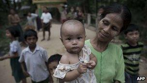 Residents at a slum in Burma, 14 November 2012