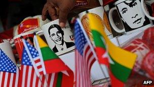 Mugs printed with images of US President Barack Obama and Burma opposition leader Aung San Suu Kyi, 16 November 2012