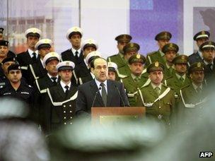 Nouri Maliki addresses troops