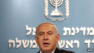 Israeli Prime Minister Benjamin Netanyahu delivers a statement to the press at his Jerusalem office on November 21, 2012.