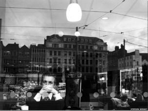 Man in shop window