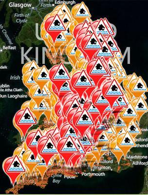 Environment Agency's flood warning map on 26 November 2012