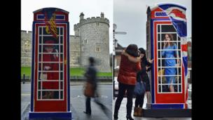 Pedestrians look at Ring-A-Royal, painted by Timmy Mallett, outside Windsor Castle
