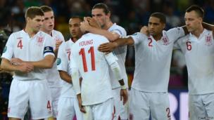 Steven Gerrard and his England team mates after losing on penalties to Italy in Euro 2012.