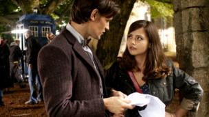 Jenna-Louise Coleman on set with Matt Smith, recording Doctor Who.