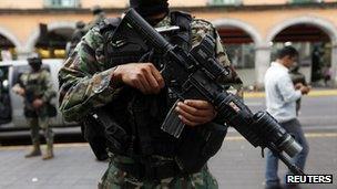 Marine stands guard in Veracruz. 26 Nov 2012