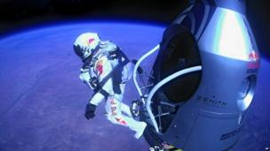 Felix Baumgartner jumping out of his capsule