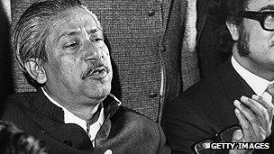 Bangladeshi premier Sheikh Mujibur Rahman pictured in 1972
