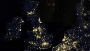 The UK at night