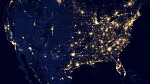 USA at night-time
