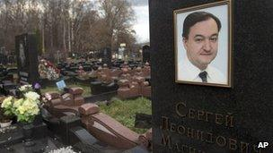 Tombstone of Sergei Magnitsky in Moscow, Russia