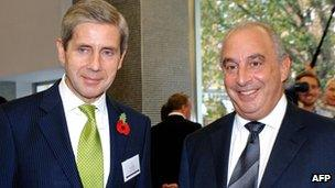 Sir Philip Green (R) and Marks and Spencer chief executive Sir Stuart Rose