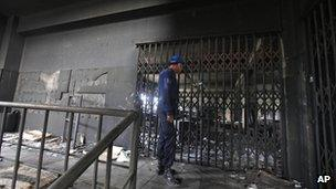 Policeman inside the damaged Tazreen garment factory