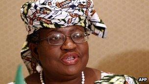 Nigeria's Finance Minister Ngozi Okonjo-Iweala in March 2012