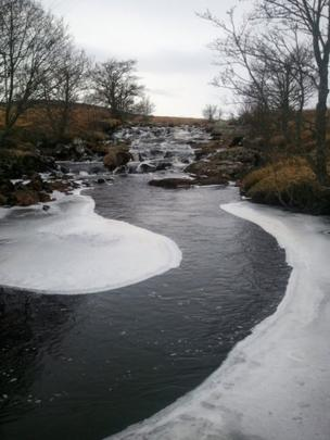 Ice forming on a river