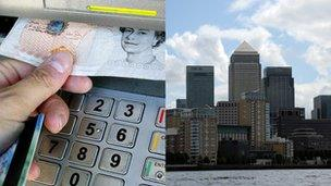 cash machine and bank buildings at Canary Wharf