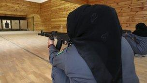Women recruits at the police academy in Kabul, 19 Dece,ber