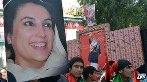 Supporters of the ruling Pakistan People's Party (PPP) at the site in Rawalpindi where Benazir Bhutto was assassinated