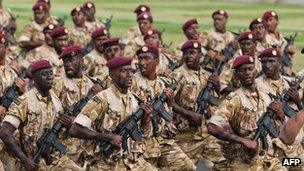 Qatari soldiers marching on Qatar's national day