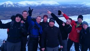 Group of hikers on Ben Vrackie
