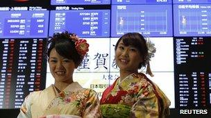 New Year opening ceremony at the Tokyo Stock Exchange