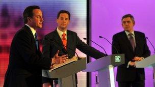 David Cameron, Nick Clegg and Gordon Brown