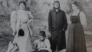 Josephine Macleod (far left) with Swami Vivekananda and two of his disciples
