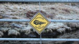 No swimming sign on a gate