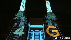 Battersea Power Station lit up for 4G launch