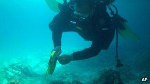 A Philippines coast guard diver inspects damage to coral on the reef (22 Jan 2013)