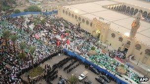 Muslims praying at Amr Ibn al-Ass Mosque in Cairo during Eid al-Fitr