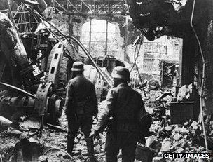 German soldiers inside a captured factory in Stalingrad, 1942