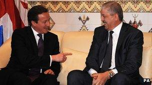 David Cameron holding talks with the Algerian counterpart Abdelmalek Sellal