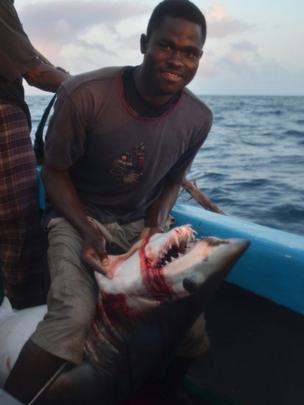 A crewman aboard the Kenyan fishing vessel holding a bleeding shark