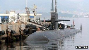 USS San Francisco submarine at Jinhae naval base in Changwon, South Korea (1 Feb 2013)