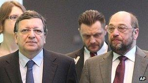 EU Commission President Jose Manuel Barroso (left) with European Parliament President Martin Schulz - file pic