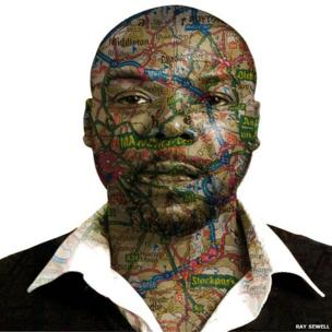 Ray Sewell with a map of Manchester on his face