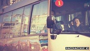 Xi Jinping sleeping in a bus