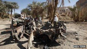 Wreckage of a car destroyed by a US drone strike in south-eastern Yemeni province of Hadhramout on 5 February 2013