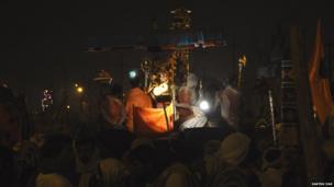 Pilgrims seated